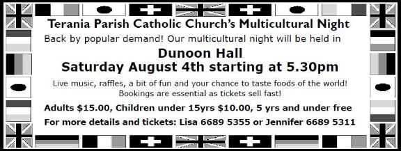 Multicultural dinner 4th August at Dunoon Hall